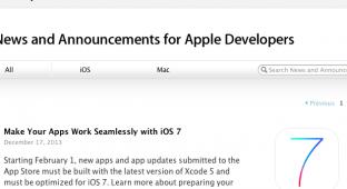 С 1 февраля Apple потребует у разработчиков приложений обязательной поддержки iOS 7