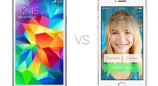 iPhone 5s против Samsung Galaxy S5: дизайн камера интерфейс [видео]