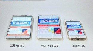 Эксперты сравнили 2K-дисплей Vivo Xplay 3S с экранами iPhone 5s и Galaxy Note 3 [фото]